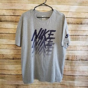 Nike Athletic Cut Gray SS Spellout Tee 2XL EUC